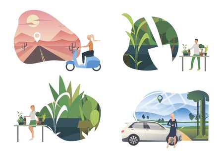 Planting illustration set. People caring about home plants, travelling outdoors by car or scooter. Activity concept. Vector illustration for topics like environment, ecology, eco tourism Ilustracja