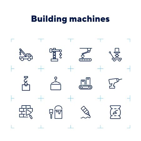 Building machines icons. Set of line icons on white background. Block, engineer, system. Construction concept. Vector illustration can be used for topics like design, manufacturing, industry