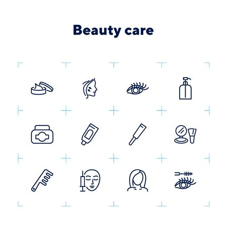 Beauty care line icon set. Cream, eyelashes, mascara, botox. Beautician concept. Can be used for topics like beauty salon, cosmetic products, face lifting 일러스트