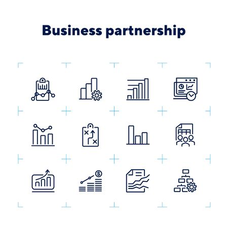 Business planning icon. Set of line icon on white background. Analytics, recruitment, finding solution. Marketing concept. Vector illustration can be used for topic like business, management, analysis