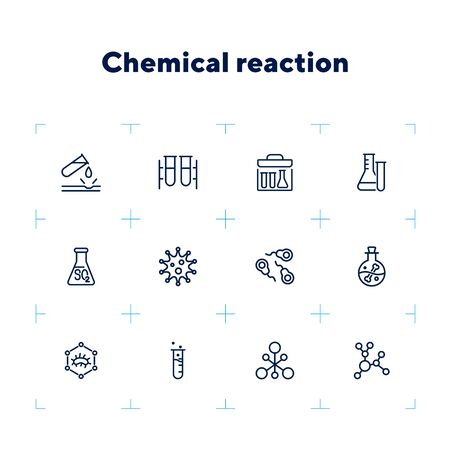 Chemical reaction line icon set. Set of line icons on white background. Molecule, structure, atom, flask. Science concept. Vector illustration can be used for topics like experiment, laboratory