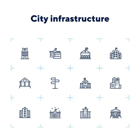 City infrastructure line icon set. School, government, courthouse, hospital, road sign. Urban life concept. Can be used for topics like town, big city, architecture