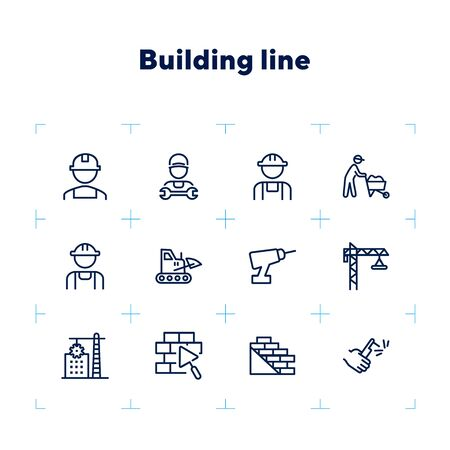Building line icon set. Set of line icons on white background. Architecture concept. Builder, wall, drill, construction crane. Vector illustration can be used for topics like building, development