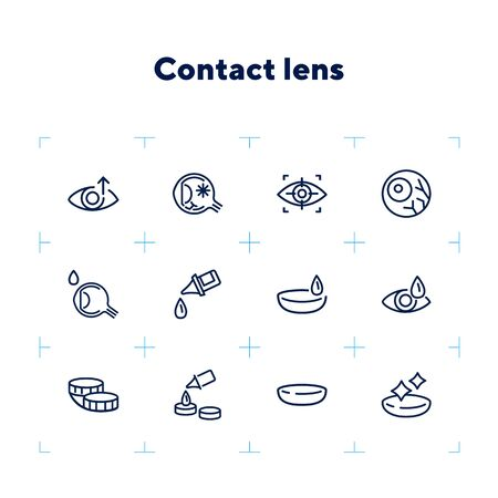 Contact lens icons. Contact solution, eye drops, eyeball. Eyesight correction concept. Vector illustration can be used for topics like healthcare, eyesight, ophthalmology 向量圖像
