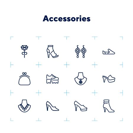 Accessories line icon set. Shoes, purse, necklace. Fashion concept. Can be used for topics like style, trend, jewelry