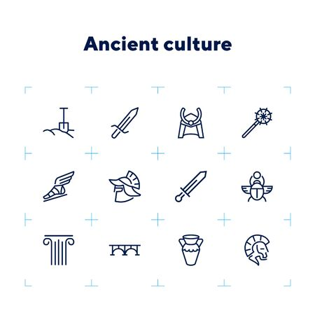 Ancient culture line icon set. Sword, spade, armor. History concept. Can be used for topics like war, medieval, myth Archivio Fotografico - 132749497