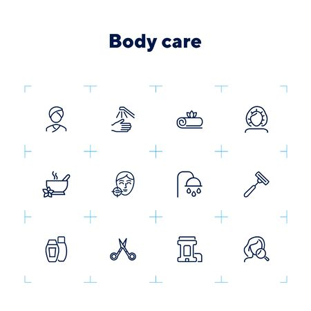Body care line icon set. Problem skin, roll deodorant, scissors, shower. Beautician concept. Can be used for topics like hygiene, skin care, spa salon 写真素材 - 132749698