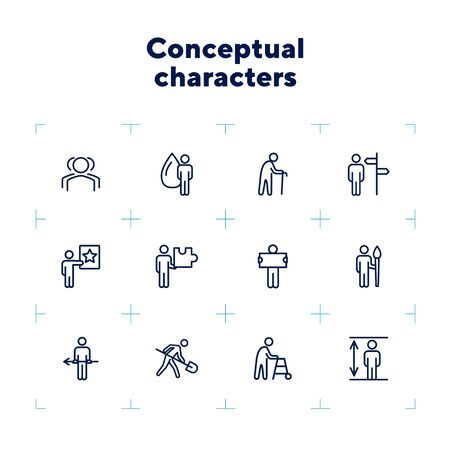 Conceptual characters line icon set. Digger, old man with cane, artist. People concept. Can be used for topics like age, occupation, job