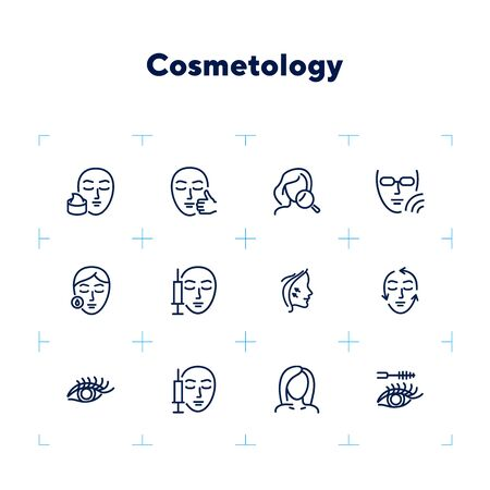 Cosmetology line icon set. injection, solarium, mascara. Beauty concept. Can be used for topics like dermatology, skin care, aesthetics Archivio Fotografico - 132750150