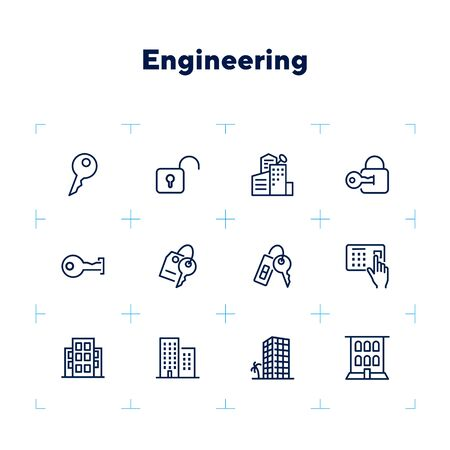 Engine line icon set. Set of line icons on white background. Equipment concept. Gear, drill, engineer, worker. Vector illustration can be used for topics like construction, repair, engineering