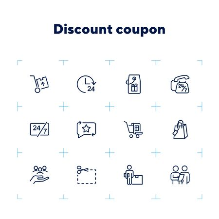 Discount coupon icons. Set of line icons on white background. Clock, coupon, delivery. Sale concept. Vector illustration can be used for topics like shopping, trading, special offers Illustration