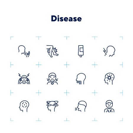 Disease line icon set. Coughing, heavy legs, head ache. Health care concept. Can be used for topics like illness, symptoms, flu, cold Ilustração
