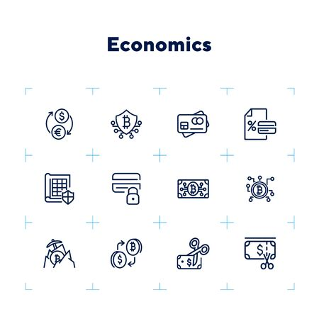 Economics line icon set. Currency, bitcoin, cash, credit card. Business concept. Can be used for topics like finance, conversion, banking Çizim