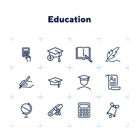 Education line icon set. Set of line icons on white background. Study concept. Bachelor, calculation, diploma. Vector illustration can be used for topics like university, college Çizim