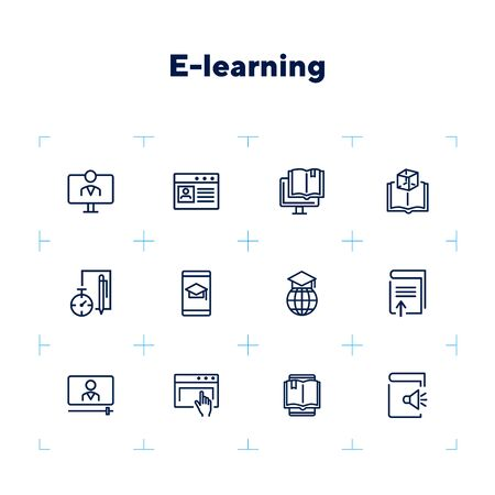 E-learning line icon set. Audio book, diploma, webinar. Education concept. Can be used for topics like studying online, technology, communication