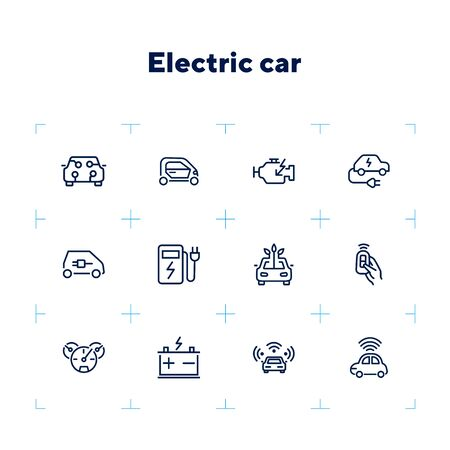 Electric car line icon set. Vehicle, engine, battery, charging station. Transport concept. Can be used for topics like ecology, city, car service, bio fuel