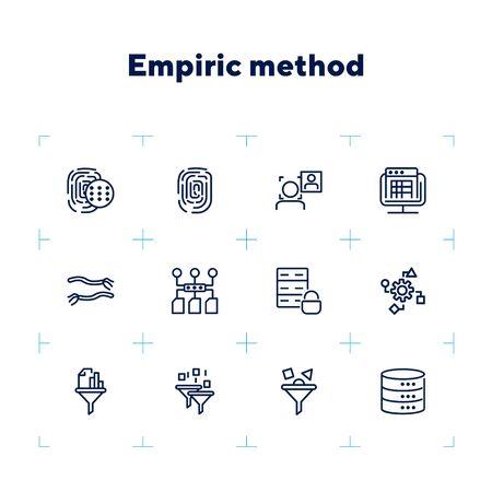 Empiric method line icon set. Fingerprint, data safety, face detection. Modern technology concept. Can be used for topics like data storage, app development, filter Çizim