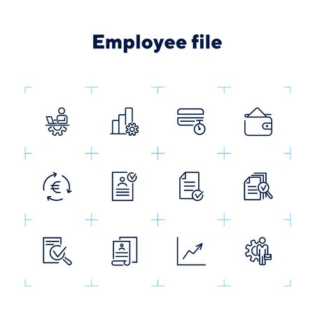 Employee file line icon set. Profile, personal data, CV, graph. Human resource concept. Can be used for topics like office work, career, personnel management Zdjęcie Seryjne - 132553742