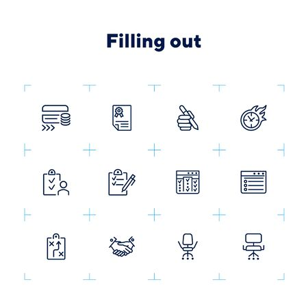 Filling out line icon set. Survey, credit card, handshake. Business concept. Can be used for topics like banking, loan, paperwork, office
