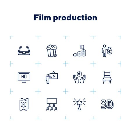 Film production line icon set. 3d glasses, presentation, hall, ticket. Movie industry concept. Can be used for topics like cinema, first night, premier, award Çizim