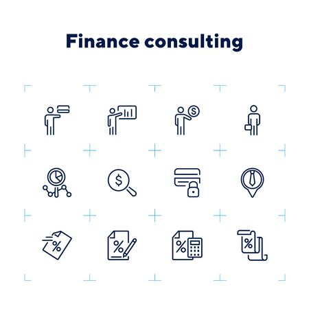 Finance consulting line icon set. Presentation, credit card, advisor. Business concept. Can be used for topics like financial analytics, calculating, investment