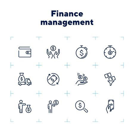 Finance management line icon set. Purse, earning, loan. Money concept. Can be used for topics like business, investment, saving, charity