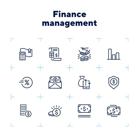 Finance management line icon set. Report, profit, insurance. Business concept. Can be used for topics like money, saving, revenue, investment Çizim