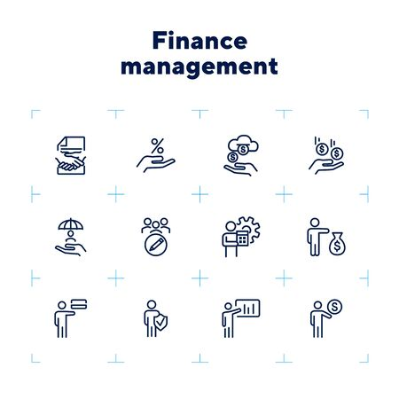 Finance management line icon set. Dealing, income, percentage. Business concept. Can be used for topics like banking, investment, profit Zdjęcie Seryjne - 132553755
