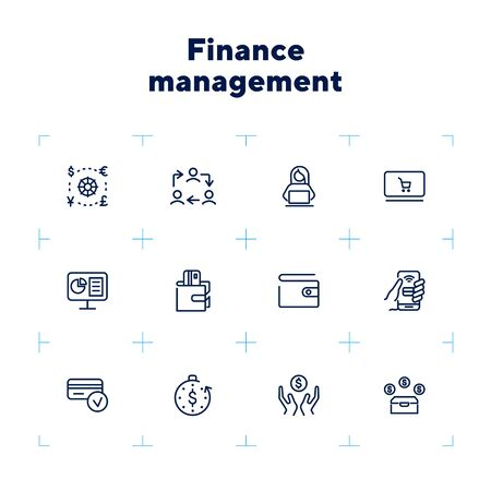Finance management line icon set. Conversion, financial analytics, wallet, credit card. Business concept. Can be used for topics like budget, salary, saving, financial payment Stock Vector - 132553753