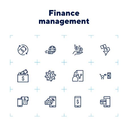 Finance management line icon set. Income, mobile payment, credit card. Business concept. Can be used for topics like banking, budget, spending money Zdjęcie Seryjne - 132553758