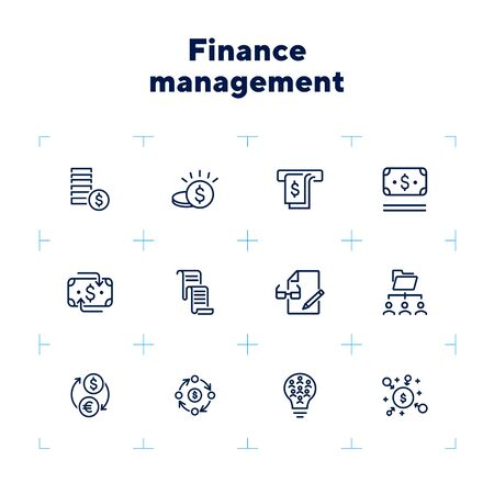 Finance management line icon set. Money, cash, currency exchange, cashback. Finance concept. Can be used for topics like finance consulting, planning budget, income, investment Zdjęcie Seryjne - 132553759