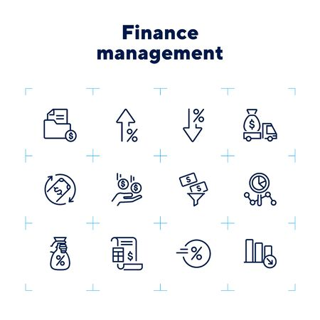 Finance management line icon set. Cash delivery vehicle, funnel, report. Money concept. Can be used for topics like investment, earning, income Zdjęcie Seryjne - 132553760