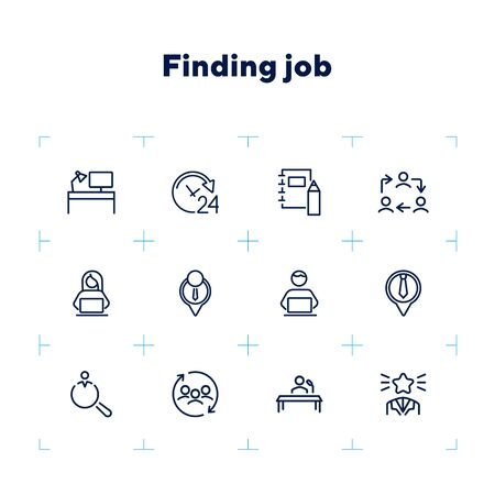 Finding job line icon set. Best worker, employee, workplace. Human resource concept. Can be used for topics like office, staff, personnel Ilustracja