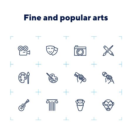 Fine and popular arts icon. Set of line icons on white background. Theater, painting, music, cinema, photography. Hobby concept. Vector illustration can be used for topics like leisure, entertainment Banque d'images - 132553563