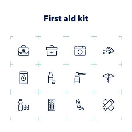 First aid kit line icon set. Suitcase, bag, pill, syrup. Medicine concept. Can be used for topics like therapy, treatment, cure