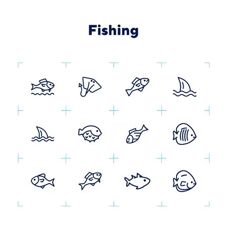 Fish line icon set. Shark, stingray, flounder, puffer fish. Nature concept. Can be used for topics like seafood, fish market, sea, ocean
