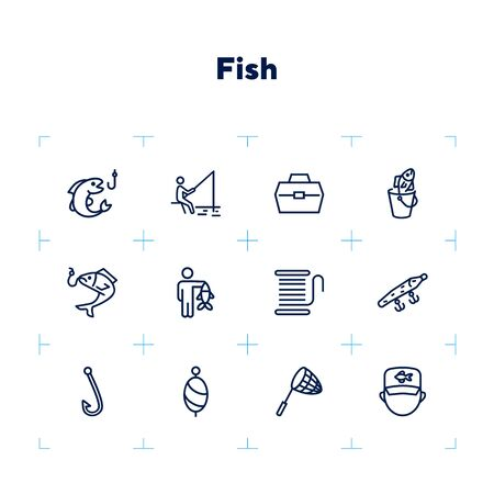 Fishing icon. Set of line icons on white background. Fish, catch, angling, harpoon. Fisherman concept. Vector illustration can be used for topics like leisure, recreation, hobby