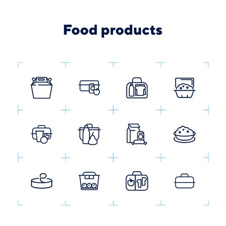 Food products line icon set. Set of line icons on white background. Lifestyle concept. Milk, container, snack, apple. Vector illustration can be used for topics like food, diet, eating