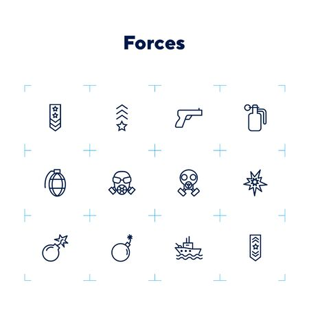 Forces line icon set. Shoulder strap, gun, bomb, ship. Military concept. Can be used for topics like army, war, defense, national security Çizim