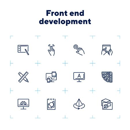 Front end development icon set. Line icons collection on white background. Palette, gadget, interface. Graphic design concept. Can be used for topics like technology, screen, drawing