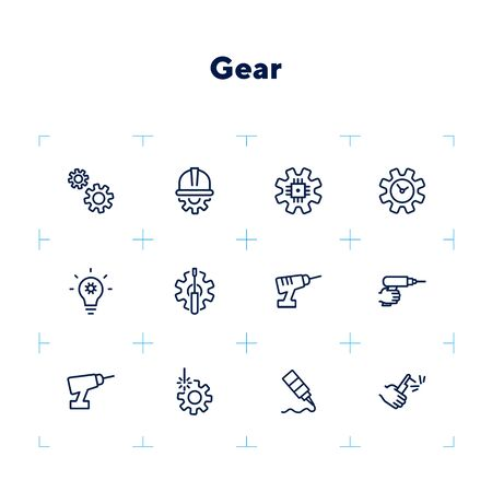 Gear line icon set. Set of line icons on white background. Gear, drill, hand, tool. Equipment concept. Vector illustration can be used for topics like construction, repair, engineering Çizim