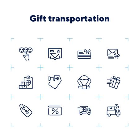 Gift transportation line icon set. Set of line icons on white background. Shopping concept. Shop, box, payment. Vector illustration can be used for topics like modern life, urban, comfort