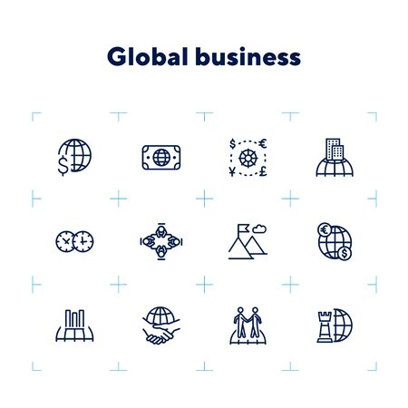 Global business icon set. Line icons collection on white background. Meeting, success, trade. Economics concept. Can be used for topics like finances, collaboration, international company