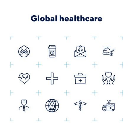 Global healthcare line icon set. Ambulance car, doctor, donation. Medicine concept. Can be used for topics like hospital, clinic, emergency, insurance