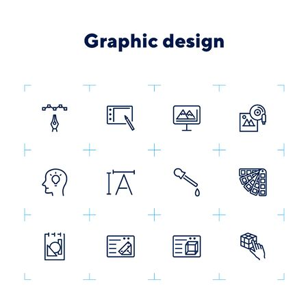 Graphic design icon set. Line icons collection on white background. Device, drawing, interface. Creativity concept. Can be used for topics like occupation, freelancing, visual art