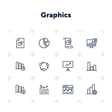 Graphics line icon set. Graph, chart, diagram. Analysis concept. Can be used for topics like marketing, statistics, report Illustration