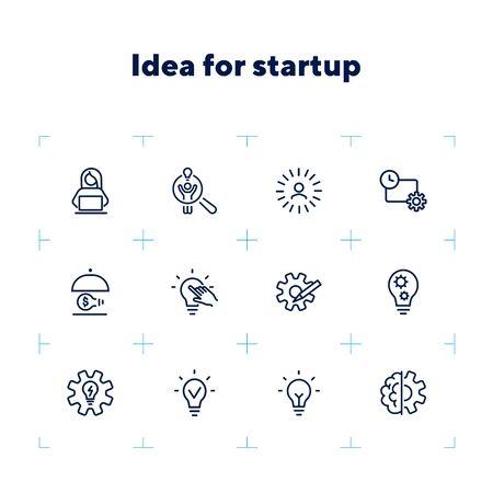 Idée pour le jeu d'icônes de ligne de démarrage. Ampoule brillante, ampoule, équipement, entrepreneur. Concept d'entreprise. Peut être utilisé pour des sujets comme le génie, l'innovation, un nouveau projet