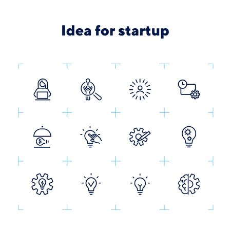 Idea for startup line icon set. Shining bulb, lightbulb, gear, entrepreneur. Business concept. Can be used for topics like genius, innovation, new project Illustration