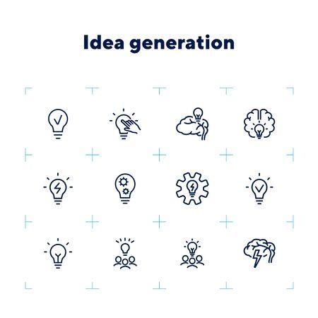 Idea generation line icon set. Brain, lightbulb, strategy. Brainstorming concept. Can be used for topics like solution, creativity, marketing Zdjęcie Seryjne - 132552937