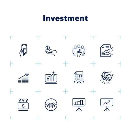 Investment line icon set. Cash, money, team, graph. Business concept. Can be used for topics like startup, project, planning, analysis